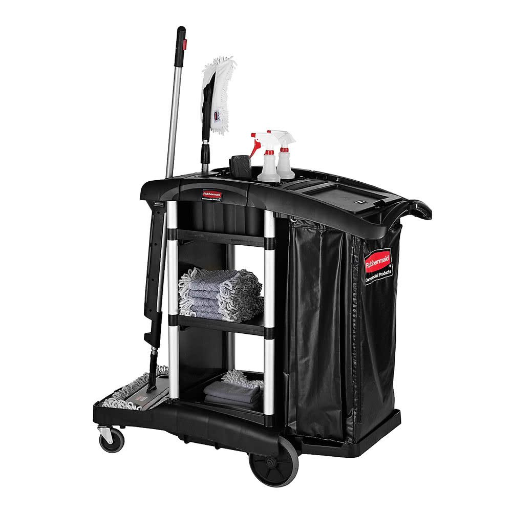 TableTop king 1861429BLACK Executive High Capacity Janitor Cart by TableTop King