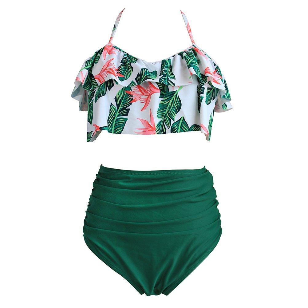xlskA High Waisted Bikini Fashion Women Bottom Flounce Swimsuit Plus Size 3XL Bathing Suit (Green, L)