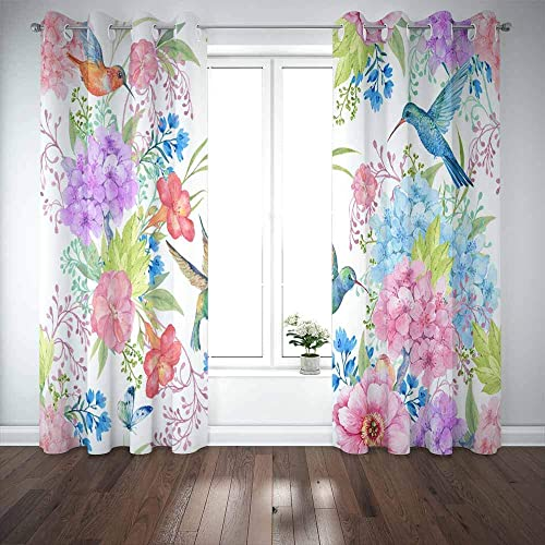 EMMTEEY Window Blackout Curtains,52X84 Curtains 2 Panels Hummingbird Birds Flowers Pattern Fabric Painting Review