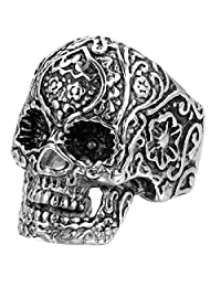 JewelryWe Vintage Mens Gothic Carving Flower Skull Stainless Steel Ring Black Silver Available sizes:7 8 9 10 11 12 13