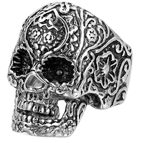 JewelryWe Bague Gothique Cool Tête de Mort Crâne avec Rayure pour Homme Motard en Acier Inoxydable de Couleur Noir et Argent Fantaisie Anneau Taille de Bague 54.5-70 avec Sac Cadeau