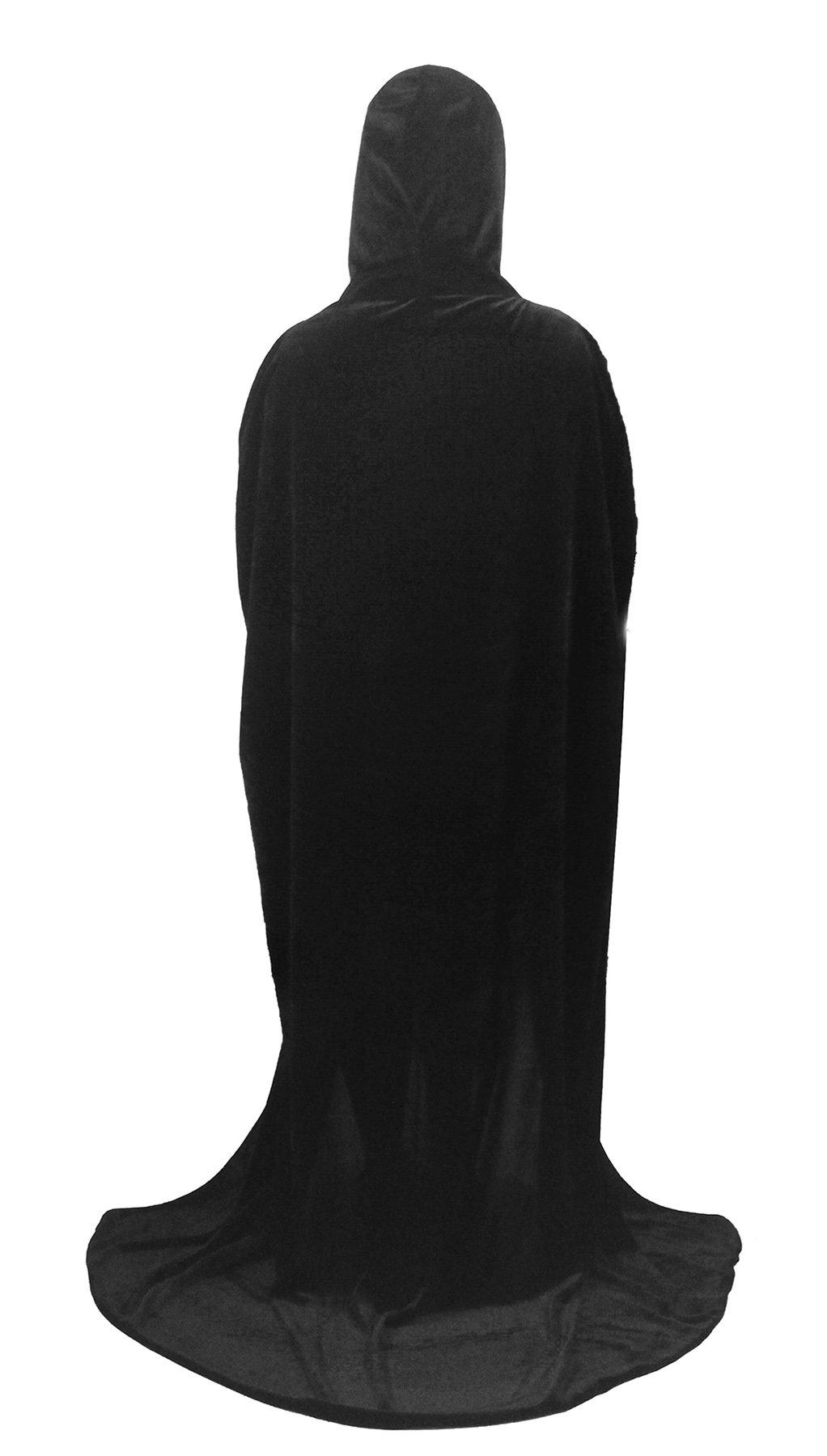Beautifulfashionlife Unisex's Halloween Cloak Velvet Witch Cape with Hoodies Black,150cm