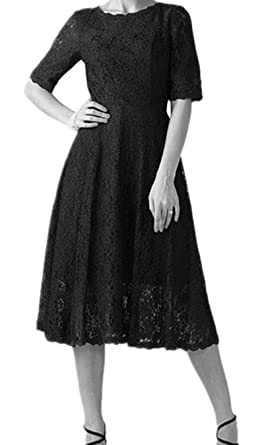 e8face17fa1 kxry Women s A Line Mother of The Bride Dress Short Vintage Half Sleeve Lace  Bridesmaid Gowns
