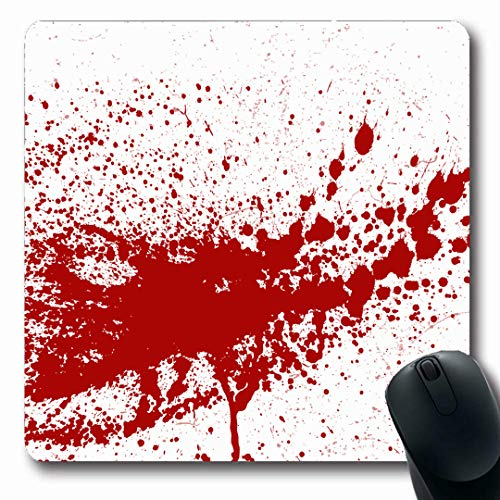 Ahawoso Mousepads Ink Artistic Blood Paint Splatters Splash Spot Messy Red Abstract Blob Blot Bright Brush Color Inky Oblong Shape 7.9 x 9.5 Inches Non-Slip Gaming Mouse Pad Rubber Oblong Mat
