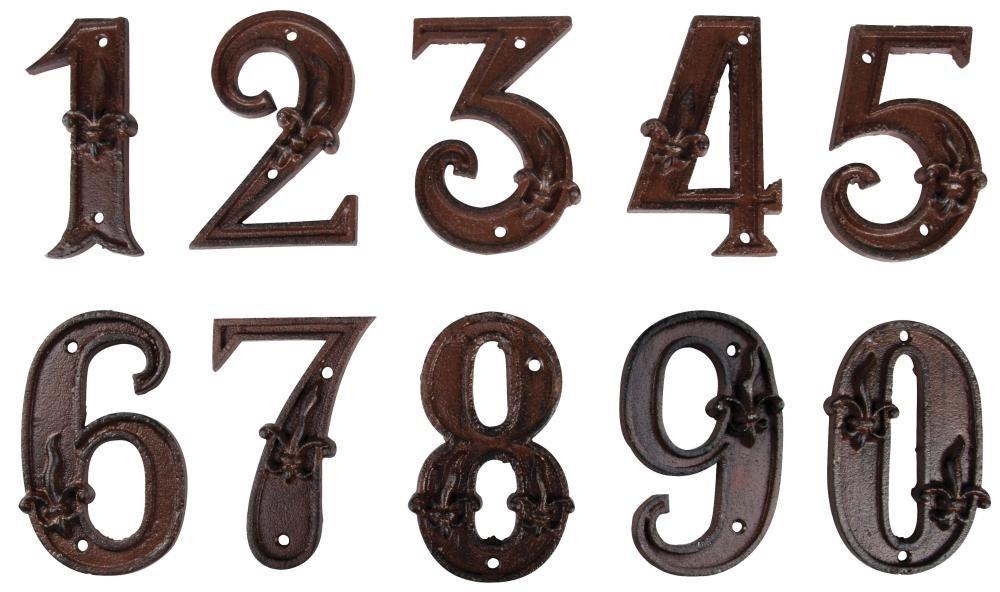 Esschert Design Set: Hausnummer 10 mit Lilien Muster aus Gusseisen in antikbraun, patiniert, auch als Zimmernummer geeignet (ca. 12 cm x 8,3 cm) Esschert Design Deutschland