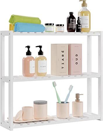 Homfa Estantería Baño Pared Estantería de Bambú Organizador Colgante para Baño Salón o Cocina con 3 Estantes Blanco 60x15x54cm