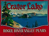 Crater Lake Pear Crate Label (9x12 Collectible Art Print, Wall Decor Travel Poster)
