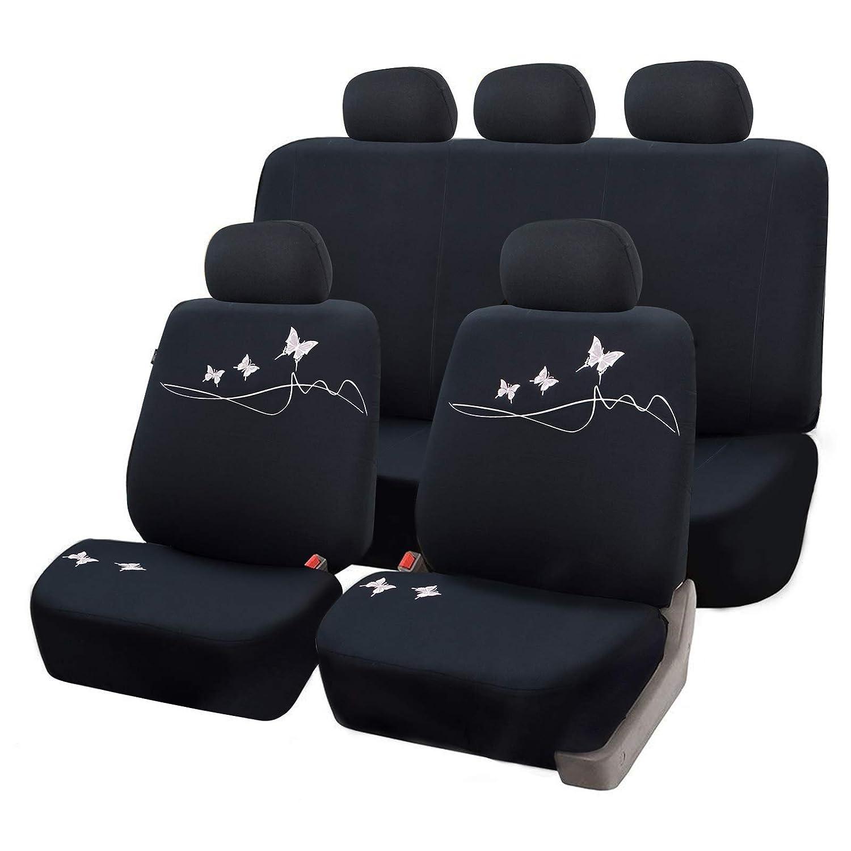eSituro universal Sitzbez/üge f/ür Auto Schonbezug Komplettset mit Schmetterling schwarz//gr/ün SCSC0098
