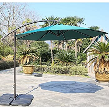 offset patio umbrellas with base outdoor living ft aluminum umbrella steel ribs green at lowes stand weight