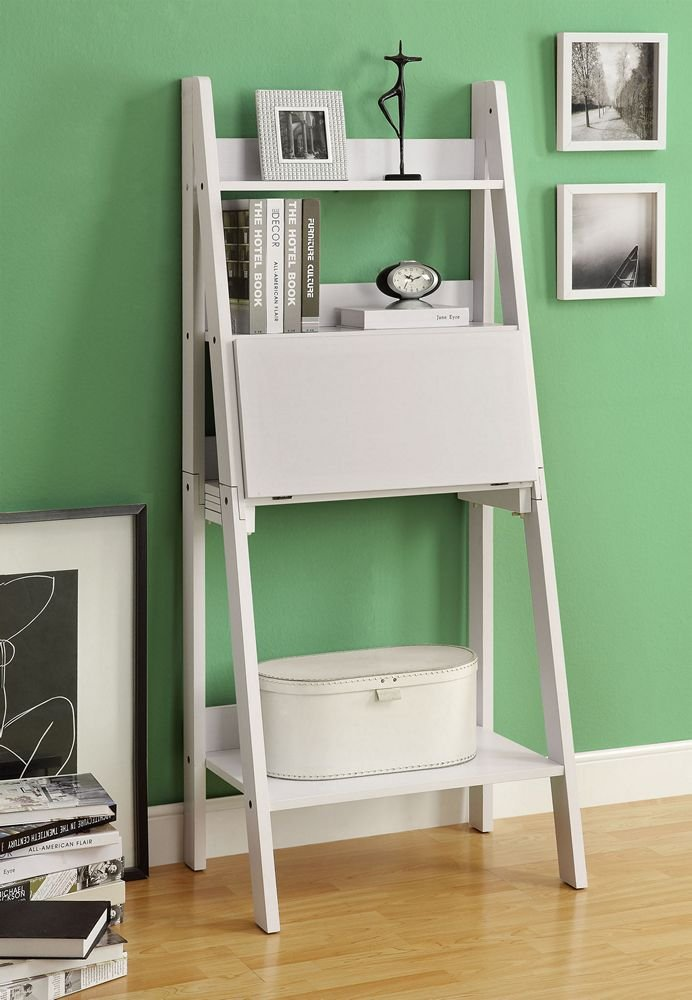 Amazon.com: Monarch Specialties High Ladder Bookcase with a Drop-Down Desk,  61-Inch, White: Kitchen & Dining - Amazon.com: Monarch Specialties High Ladder Bookcase With A Drop