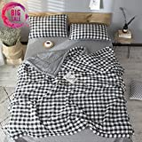 Leadtimes Thin Comforter Kids Cotton Comforter Black and White Checkered Plaid Twin Size Reversible Lightweight Summer Quilt for Children (Black and White, Twin)