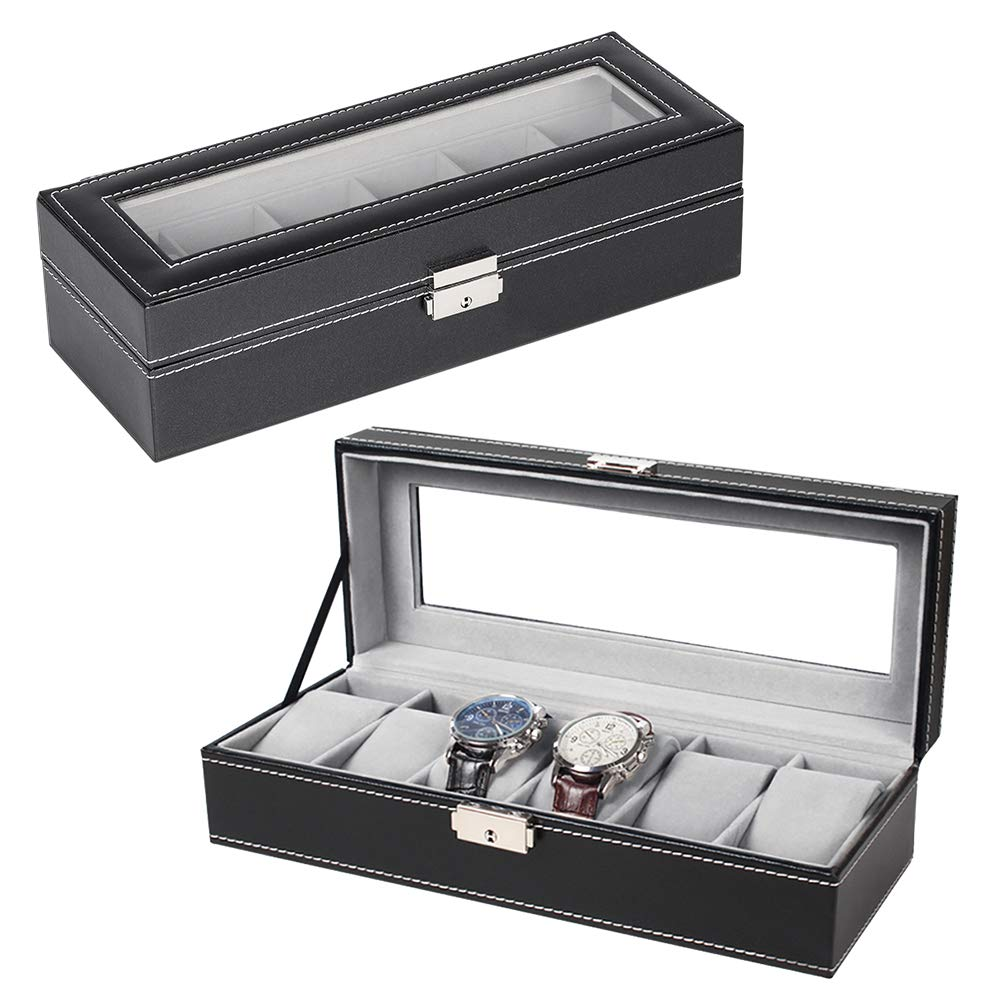 NEX 6 Slot Leather Watch Box Display Case Organizer Glass Jewelry Storage Black by NEX