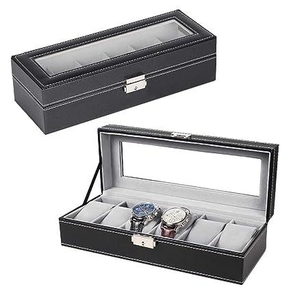 ef64575f4 Amazon.com: NEX 6 Slot Leather Watch Box Display Case Organizer Glass  Jewelry Storage Black: Home & Kitchen
