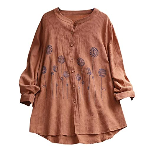 35047c1f9e337 DEATU Womens Blouses, Vintage Ladies Solid Embroidery Cotton Linen Casual T  Shirt Girls Loose Long Sleeve Tops at Amazon Women's Clothing store: