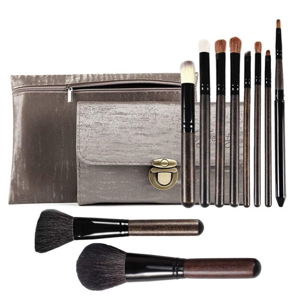 Goat Hair Makeup Brushes 10PCS Soft Professional Makeup Brush Set Foundation Blush Eye Shadow Makeup Brushes Two PU Cosmetic Bags JYNLU (goat hair) (goat hair)