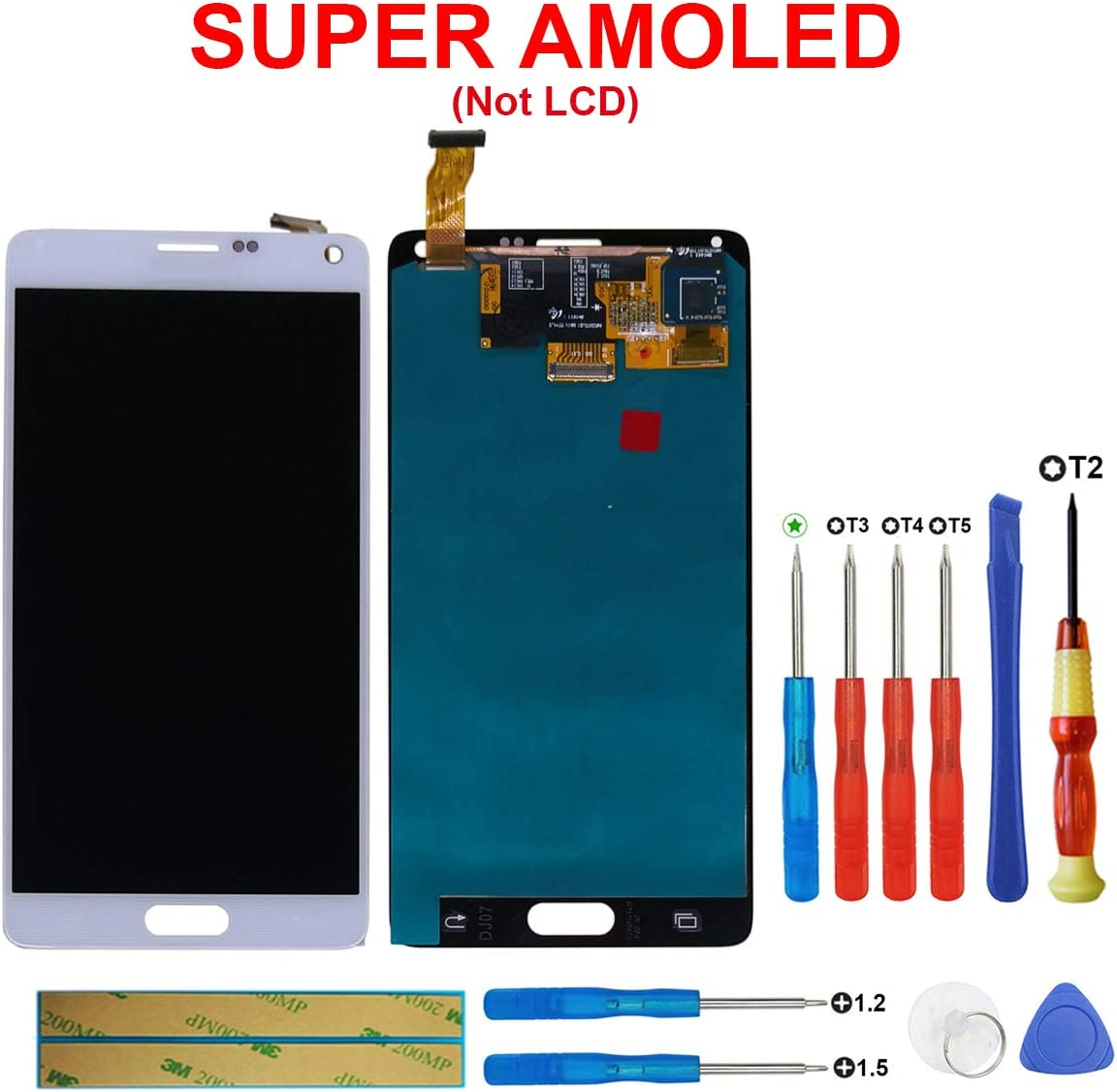 swark Super AMOLED - Pantalla táctil LCD N910P N910T N910R4 N910W8 N910F N910F N910P N910T N910R4 N910W8 N910F N910U (compatible con Samsung Galaxy Note 4 (IV), color blanco: Amazon.es: Electrónica