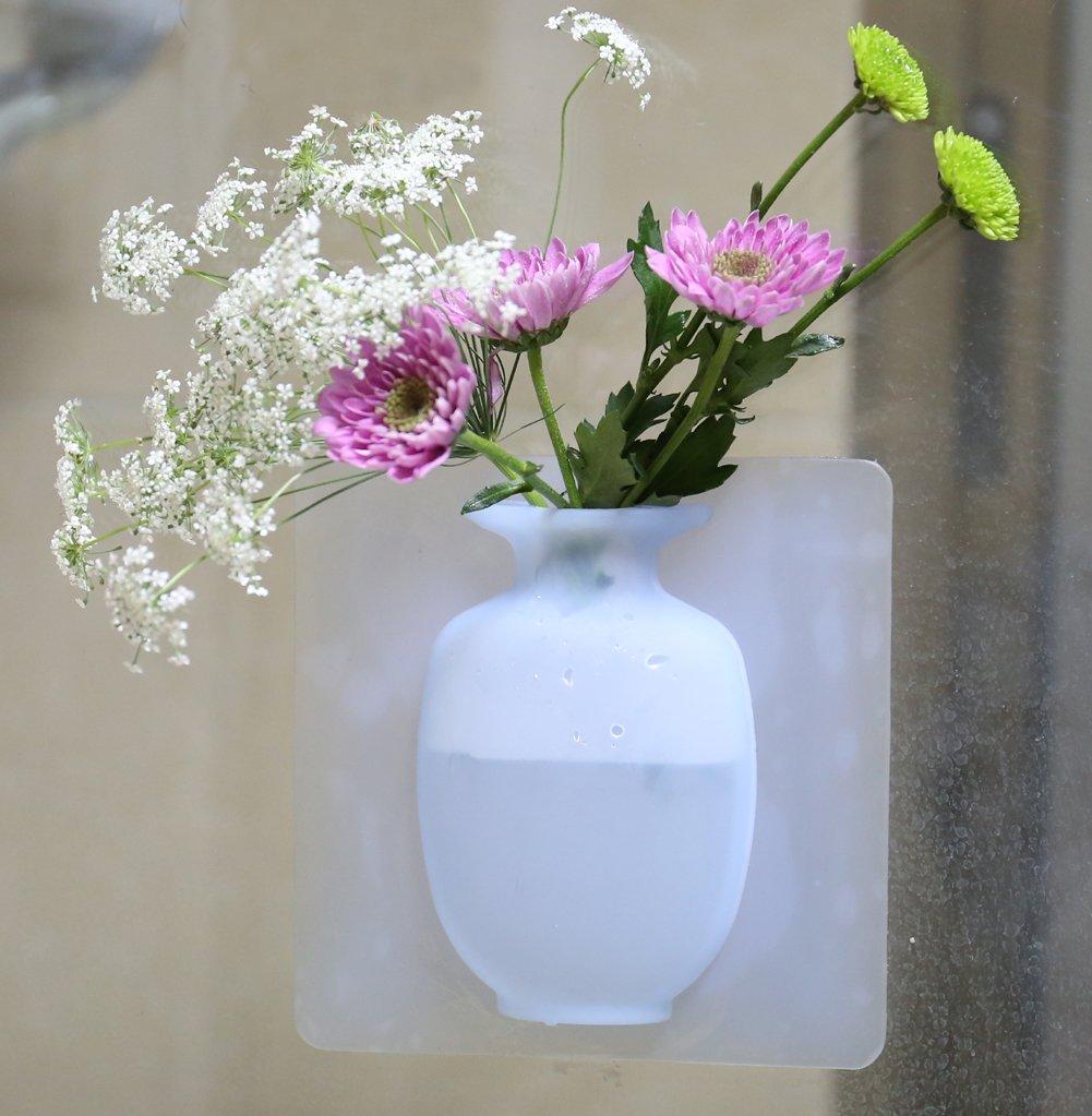 Flor decorativa jarrón - maceta para colgar - uñas libre silicona Magic jarrón - reutilizables Flores Jarrón para decoración del hogar - interior y exterior ...