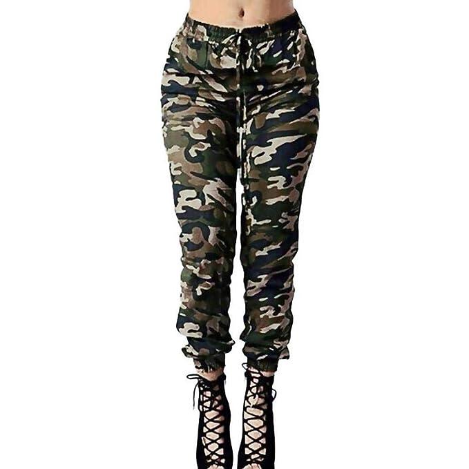 Lananas Mujer Elástico Cintura Alta Militar Camuflaje Largo ...