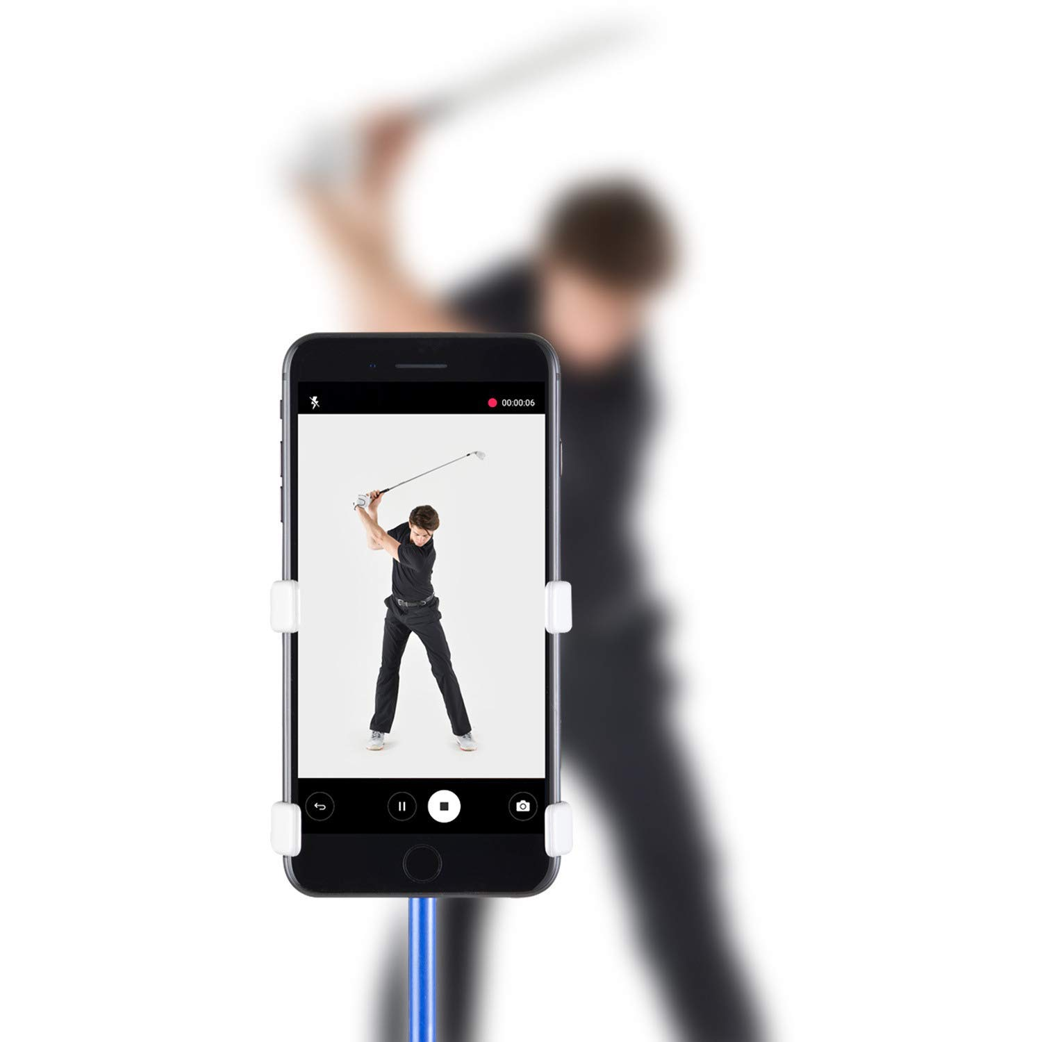 SelfieGolf Record Golf Swing-Cell Phone Clip Holder and Training Aid by TM-Golf Accessories |The Winner of The PGA Best of 2017 |Compatible with Any Smart Phone,Quick Set Up (Matte Black) by Selfie Golf (Image #1)