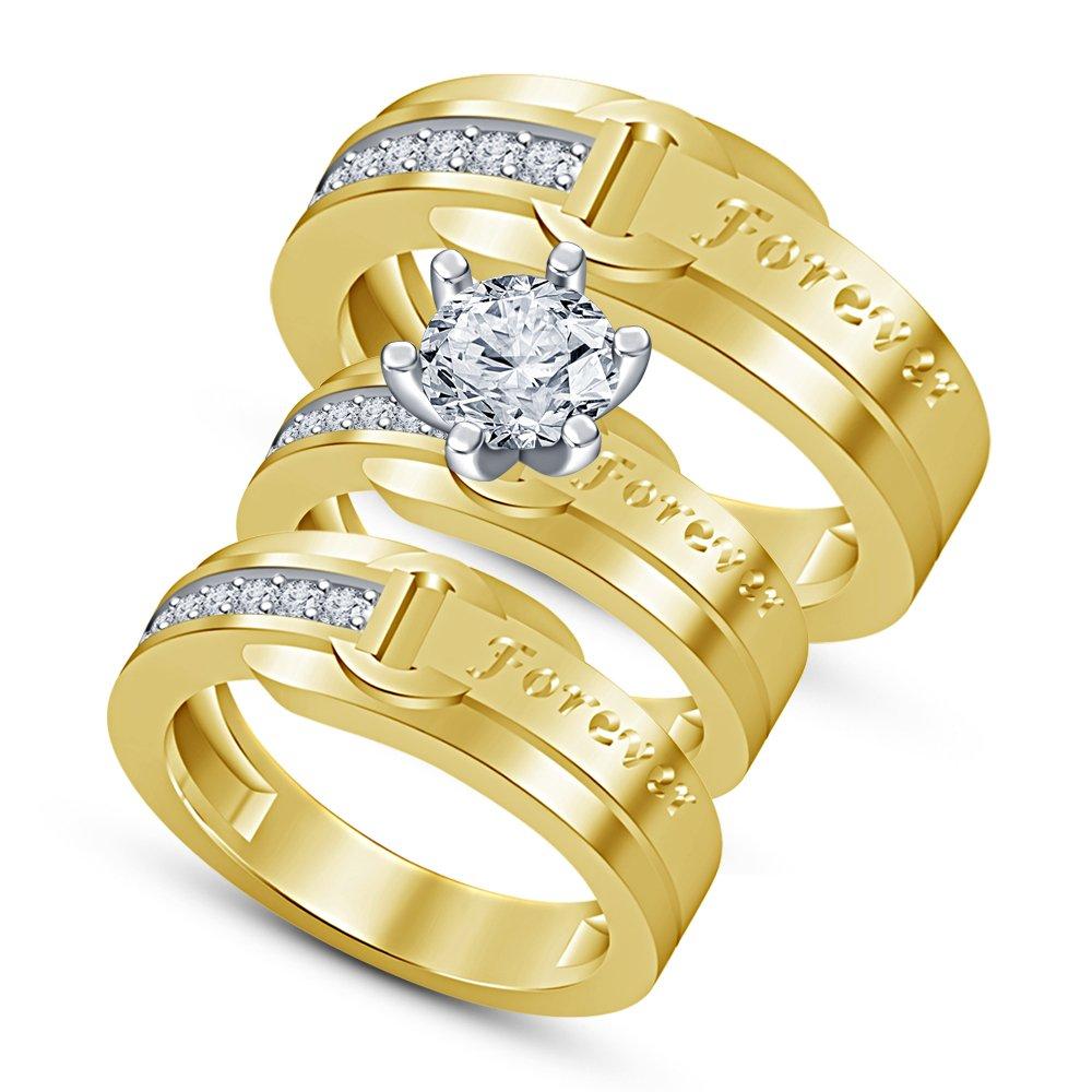 VerGoldet Vorra Fashion 925 Sterling Silber verGoldet Brautring Verlobungsring Trio-Set Rundschliff weiß Zirkonia