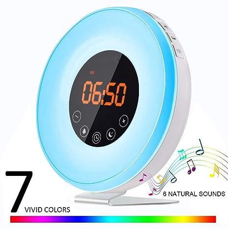 Despertador Sunrise, despertador Flyproshop Despertador despertador despertador ligero USB Reloj despertador USB inteligente Control táctil