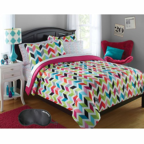 Your Zone Microfiber Bright and Colorful Chevron 7-Piece FULL Size Bed in a Bag Bedding Set with Sleep Mask (Bedding Chevron Walmart)