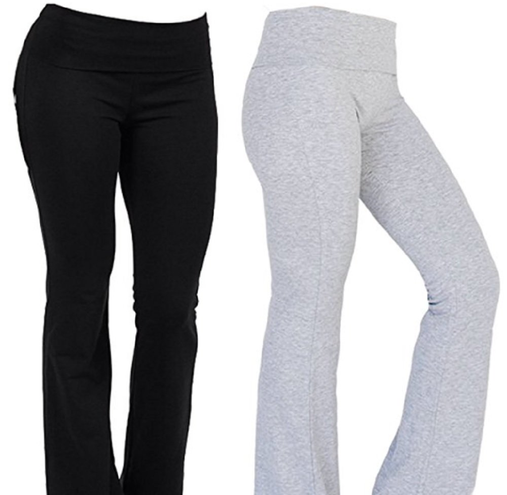 Hollywood Star Fashion Foldover Contrast Waist Bootleg Flare Yoga Pants (Large, 2Pack-Black&Hgrey)
