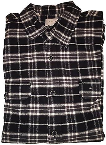 Jachs Men/'s 9oz Cotton Flannel Brawny Flannel Shirt Button Down Large