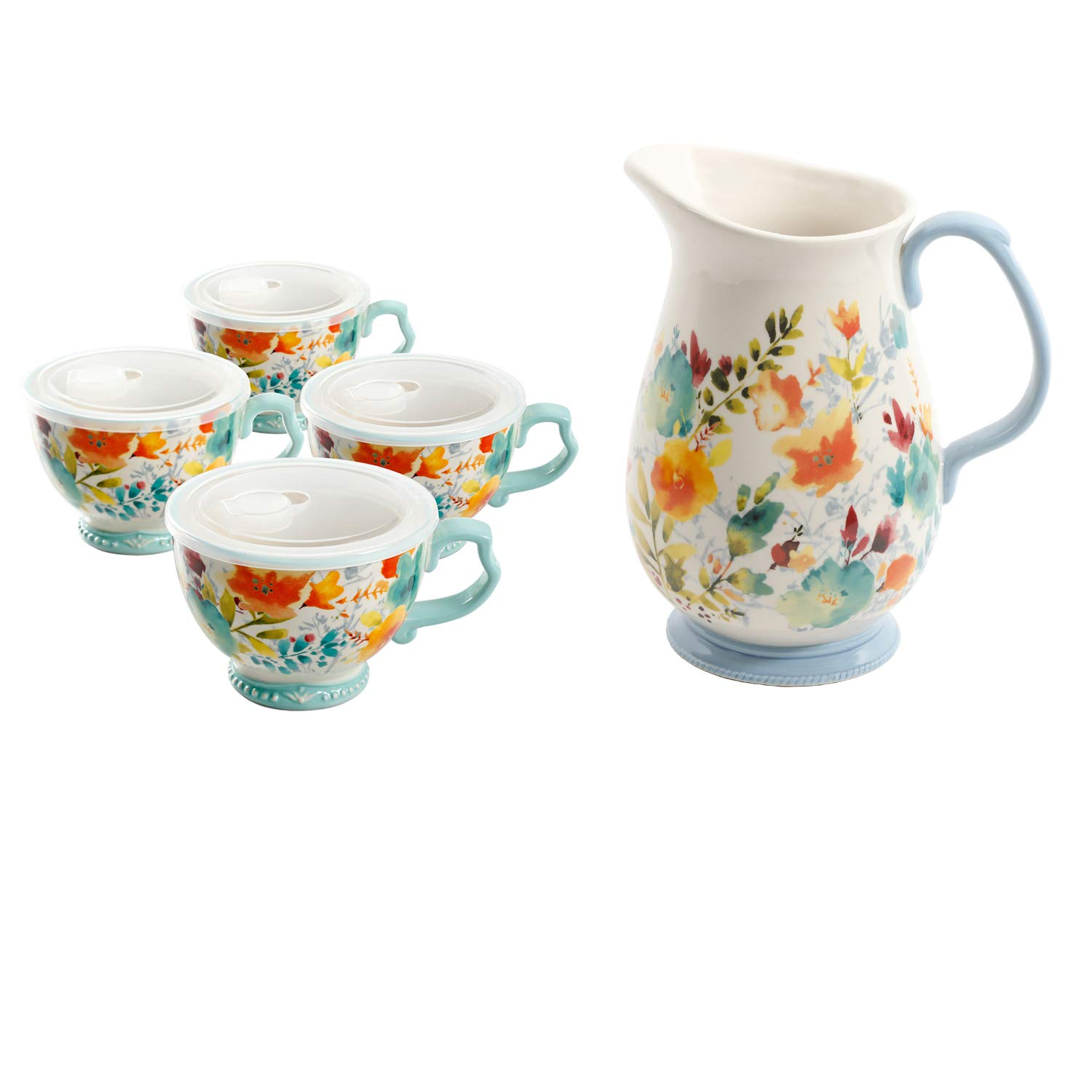 The Pioneer Woman Willow 27oz Cup with Lid, Set of 4 bundle with The Pioneer Woman 3.2 Quart Pitcher
