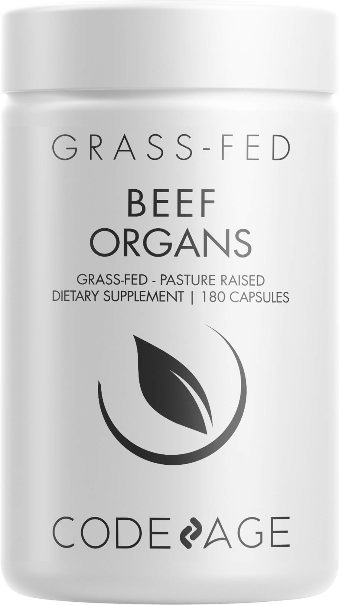 Codeage Grass Fed Beef Organs Supplement – Glandulars Supplements - Freeze Dried, Non-Defatted, Desiccated Liver, Heart, Kidney, Pancreas & Spleen Bovine Pills – Beef Vitamins - Non-GMO -180 Capsules