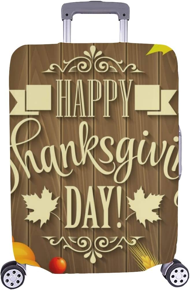 Logo Thanksgiving Day Fall Greeting Spandex Trolley Case Travel Luggage Protector Suitcase Cover 28.5 X 20.5 Inch