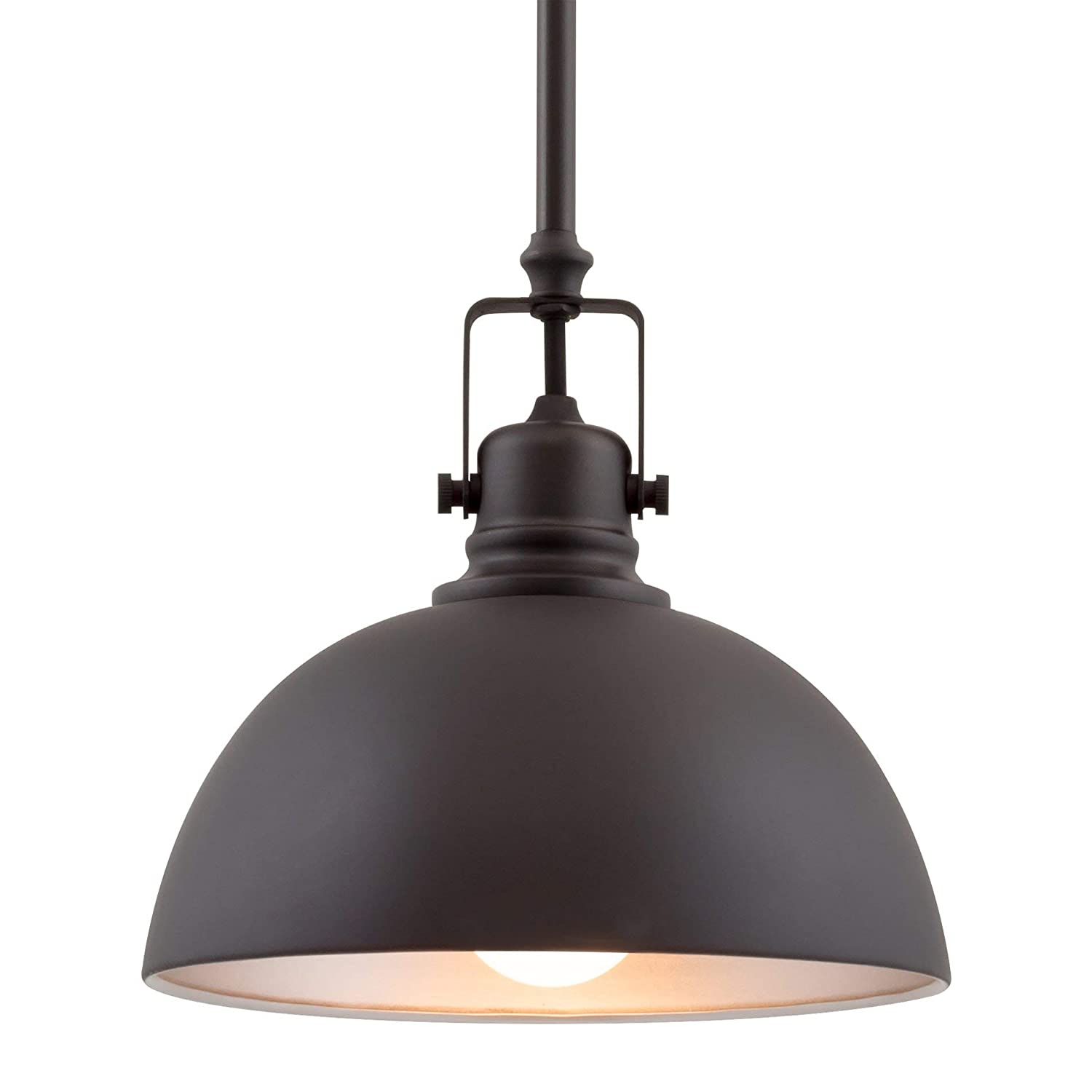 "Kira Home Belle 9"" Contemporary Industrial 1-Light Pendant Light, Adjustable Length + Shade Swivel Joint, Oil-Rubbed Bronze Finish"