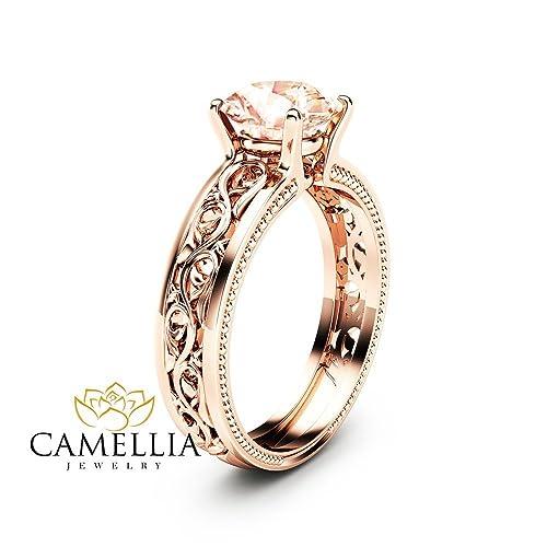 Amazon Com 1 5ct Morganite Engagement Ring 14k Rose Gold Morganite