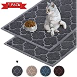 "Flamingo P Cat Litter Mat Premium Durable, Water Resistant, Traps Litter from Box Cats, Scatter Control -2 Pack 35"" x 23"" Large Size Mats Soft on Kitty Paws, Easy Clean Mats"