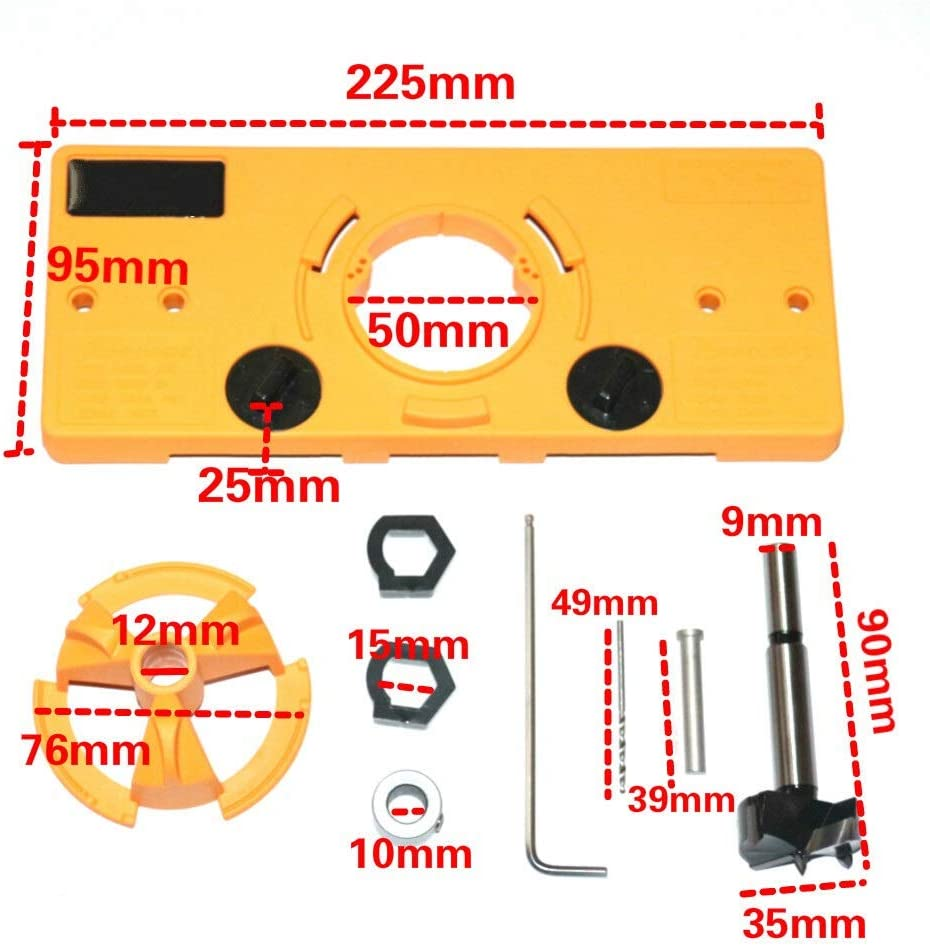 XHUENG Useful 15MM-35MM Cup Style Hinge Boring Jig Drill Guide Set Door Hole Template For Concealed Hinge Jig Woodworking DIY Tool (Color : 1Set with 5 drill) 1set With 1 Drill