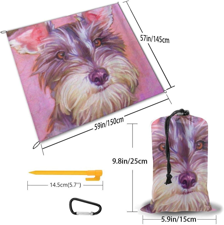 HARXISE Coperta da Spiaggia,Schnauzer Painting Art Dog,Coperta da Picnic Impermeabile Tappetino da Picnic Resistente alla Sabbia con Ancora per Viaggi Campeggio Escursionismo 1