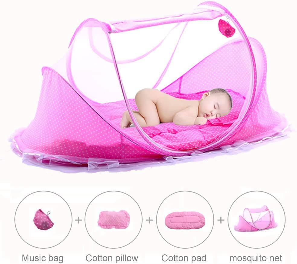 BingHang Baby Travel Bed,Infant Baby Bed Portable Mosquito Net Folding Baby Crib Netting Summer Autumn Portable Baby Cots Newborn Foldable Crib Net with Summer Sleeping Mat and Music Pack blue