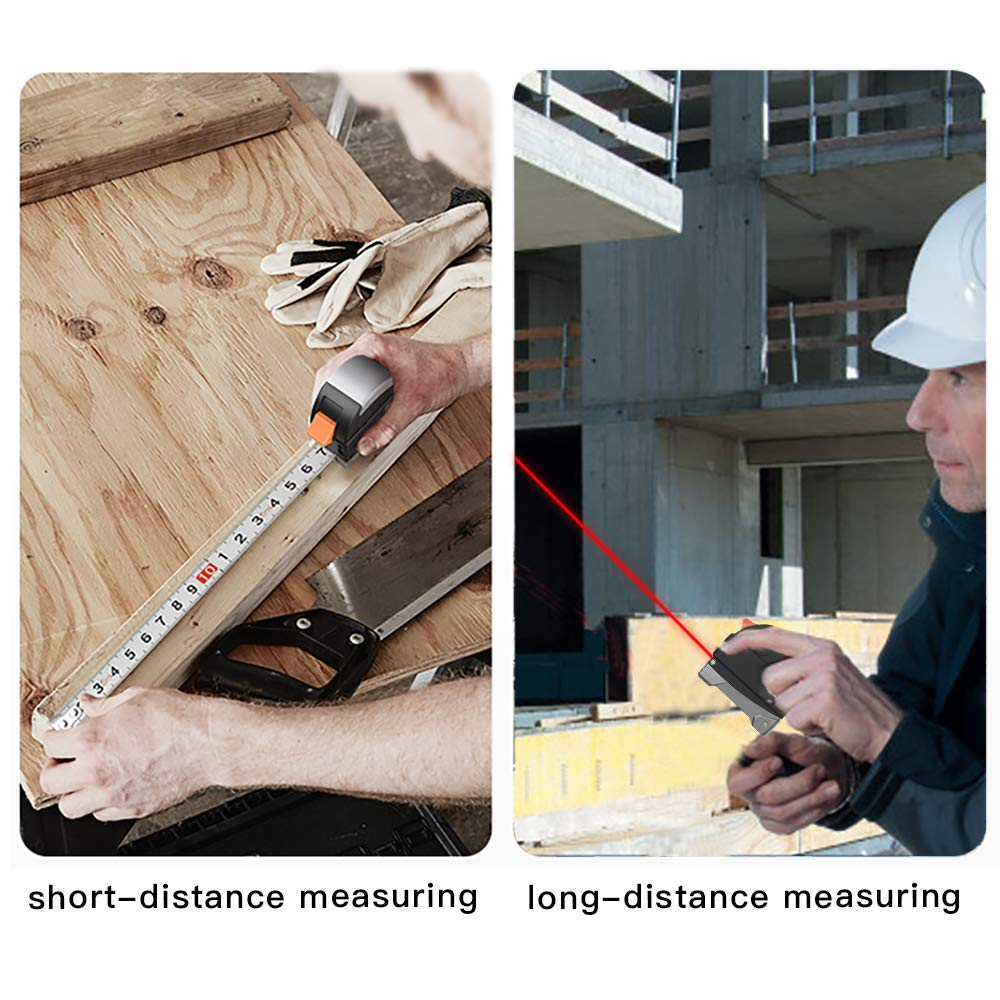 Ameter 2 in 1 Tpae Measurement Tools- Tape Measure 5m/16ft With Rechargeable laser line Digital Distance Measure 30m/98ft With LCD Display metric,inches, foot Electronic Tape Measuring Tool by Ameter (Image #7)