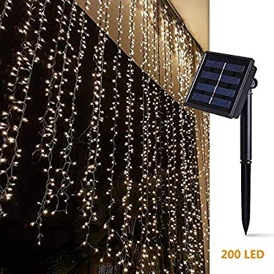 SmartDirect Solar Curtain Lights for Bedroom Parties Wedding,6.6ft x 6.6ft,8 Mode,200 LED Wall Window Backdrop Decor String Lights for Party Home Garden Gazebo BBQ RV Birthday Decorations,Dark Green