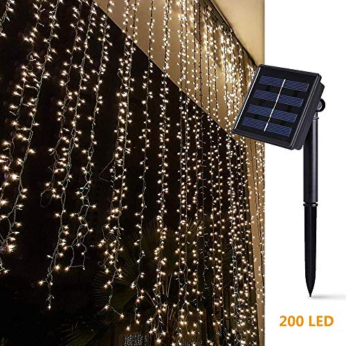 Solar Curtain Lights for Bedroom Parties Wedding,6.6ft x 6.6ft,8 Mode,200 LED Wall Window Backdrop Decor String Lights for Party Home Garden Gazebo BBQ RV Birthday Decorations,Dark Green (Warm White)