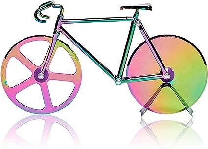 N/D Besylo Pizza con Forma de Bicicleta, Cortador de Pizza con Forma de Bicicleta con Soporte, Ruedas de Corte de Acero Inoxidable, Cortador de Pizza ...