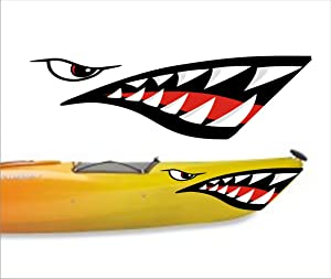 welddecals Shark Teeth Mouth Decal Stickers Kayak Canoe Jet Ski Hobie Dagger Ocean Boat
