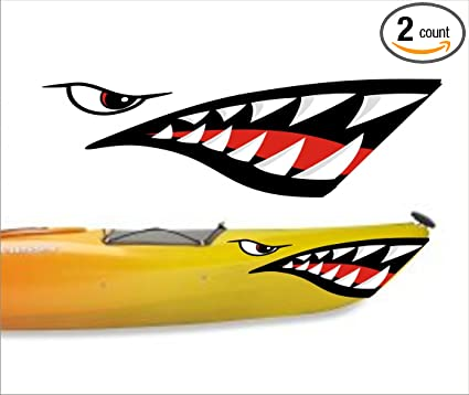 Welddecals shark teeth mouth decal stickers kayak canoe jet ski hobie dagger ocean boat a