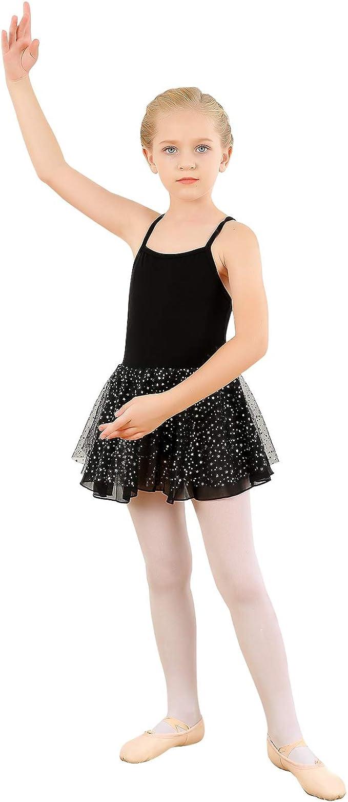 Girls Camisole Dress Cotton Ballet Dance Leotard with Glitter Tutu Skirted fit for 2-13Yr Toddler//Little Girl//Big Girl