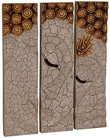 Asiatika Onlinede Buddha Wandrelief Wandbild 3 Tlg Massiv Holz