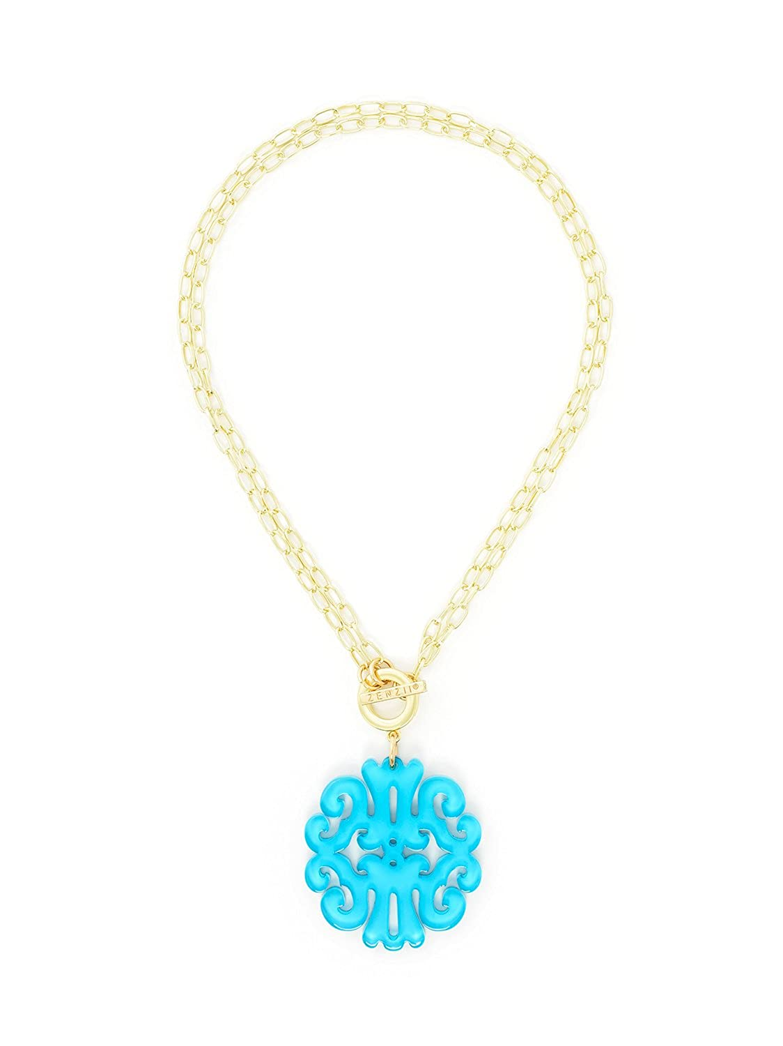 ZENZII Statement Scroll Acrylic Resin Pendant Necklace with Convertible Toggle Chain