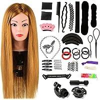 Neverland Beauty Tête de coiffeur 60% cheveux naturels Tête de coiffure Tête de coiffure Tête de coiffure Tête de coiffure avec support et coiffure