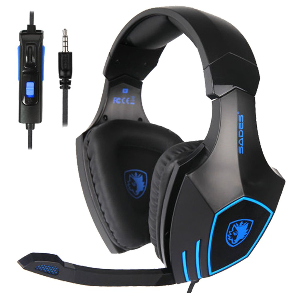 Gaming Headset, GAKOV GAK12 USB PC Gaming Headphones Super Bass Noise Cancelling Over Ear Earphones with Mic-Phone and Colorful Breath Light Compatibility with Xbox One,PS4, PC, PS Vita, Smart Phone