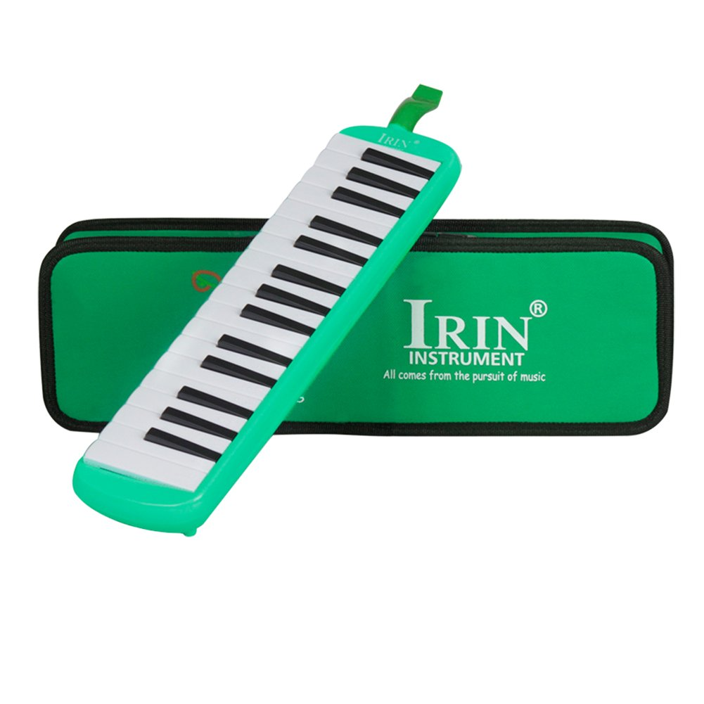 32 Keys Melodica, Melodica with Mouthpiece Musical Instrument for Music Lovers Beginners with Carrying Bag(Green)