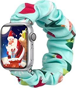 ALNBO Compatible with Apple Watch Band 38mm 40mm 42mm 44mm Soft Floral Fabric Elastic Scrunchies iWatch Bands for Apple Watch Series 6,SE,5,4,3,2,1 38mm/40mm Christmas L